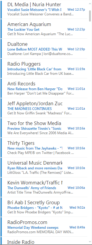 screenshot of many emails from record labels