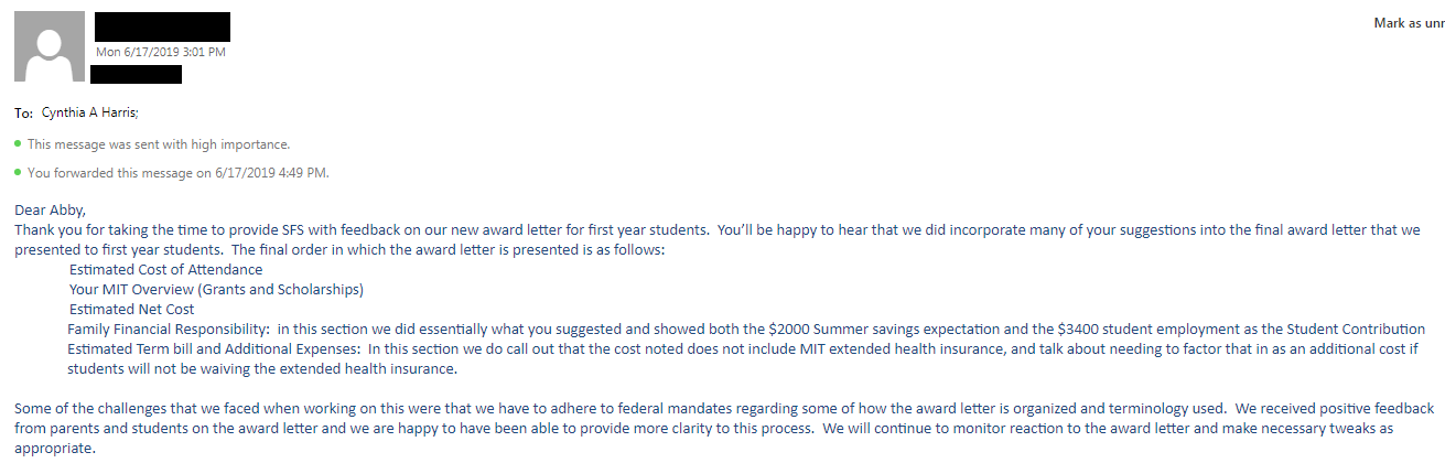 the email response from sfs