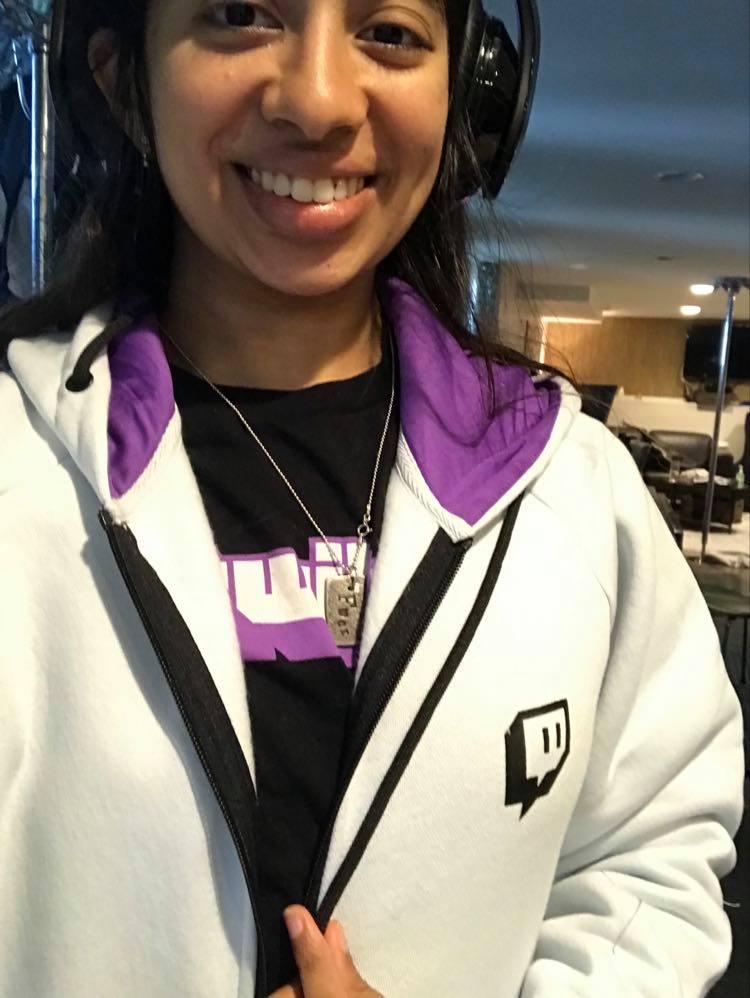 nisha wearing a twitch hoodie