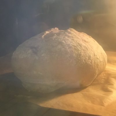 My loaf of bread in the oven. It's blurry, beige, and puffed-up looking.