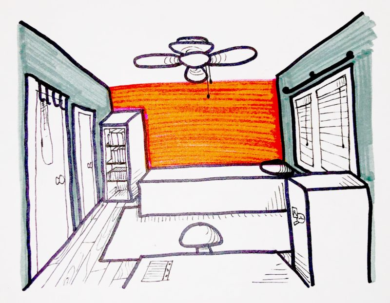 a drawing of my bedroom, showing the red and grey walls