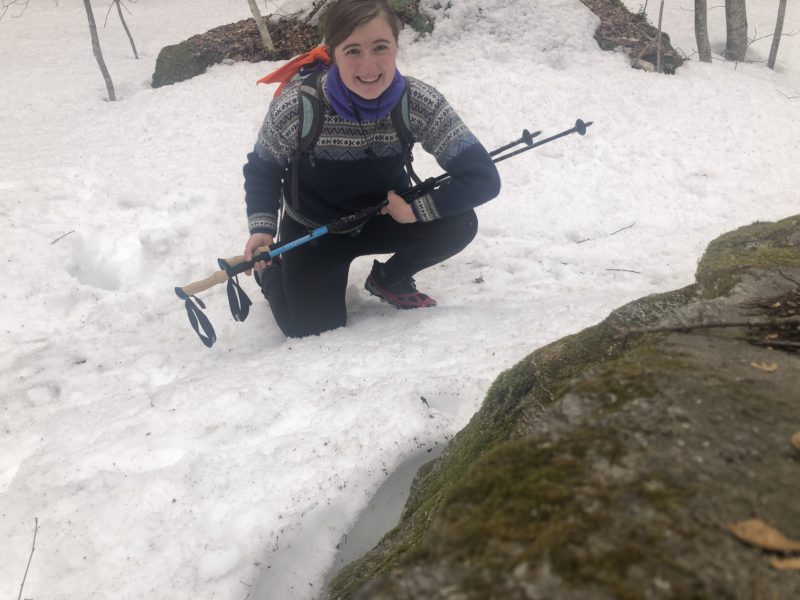 picture of me hiking in the snow