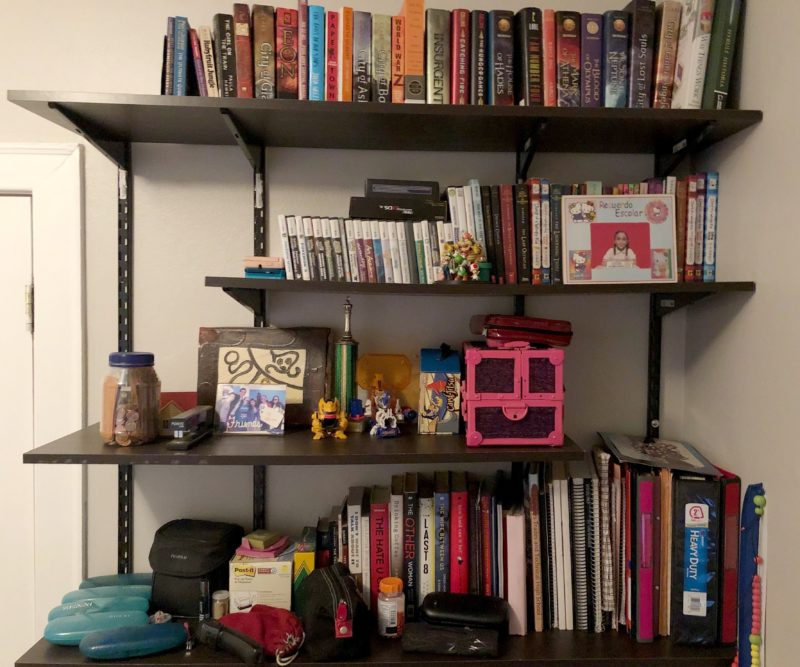 a photo of my bookshelf