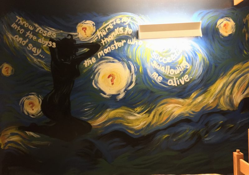 a photo of my mural, heavily inspired by van gogh's starry night