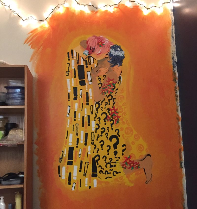 a photo of my mural, inspired by klimt's the kiss