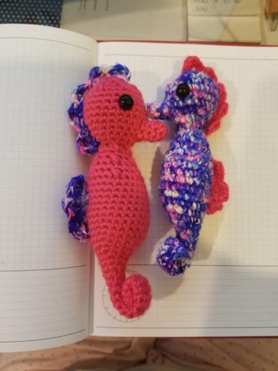 knitted seahorses