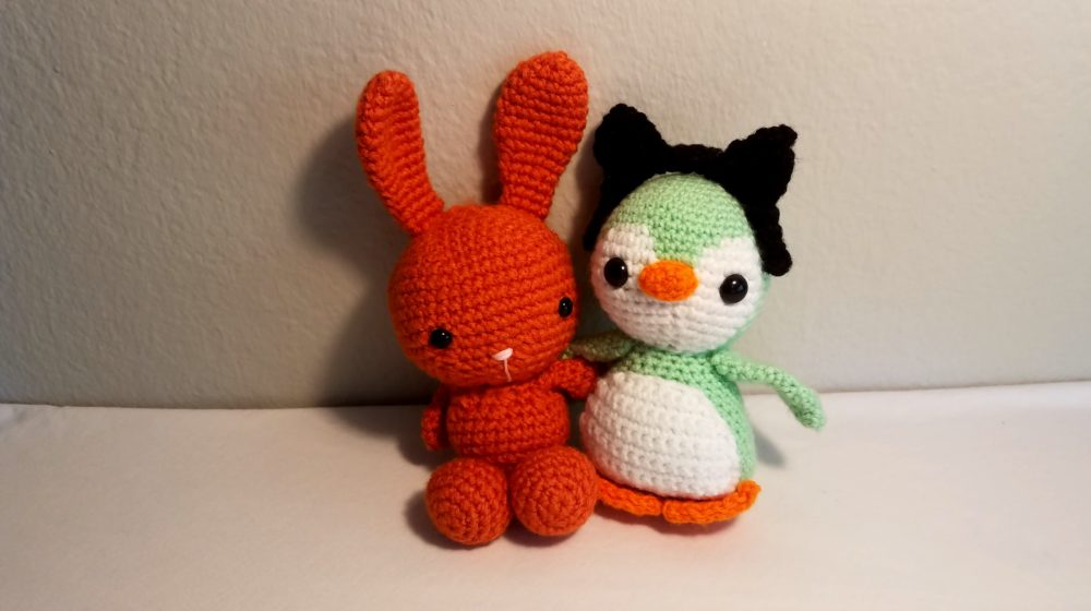knitted bunny and penguin