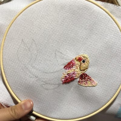embroidered part of a fish