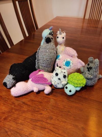 group of knitted animals