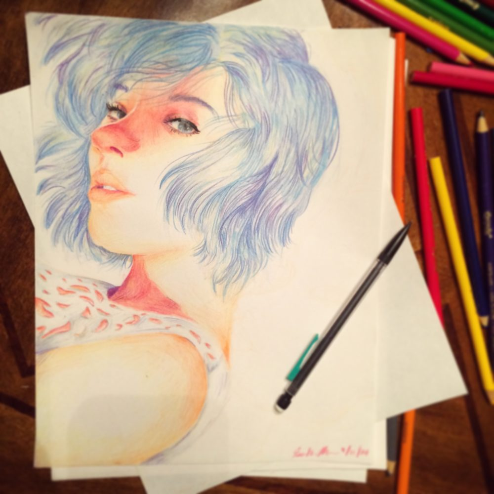 a drawing of a girl with blue hair