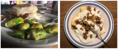 brussels sprouts, breakfast sandwich, and yogurt