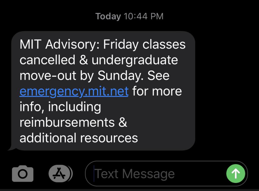 MIT alert text