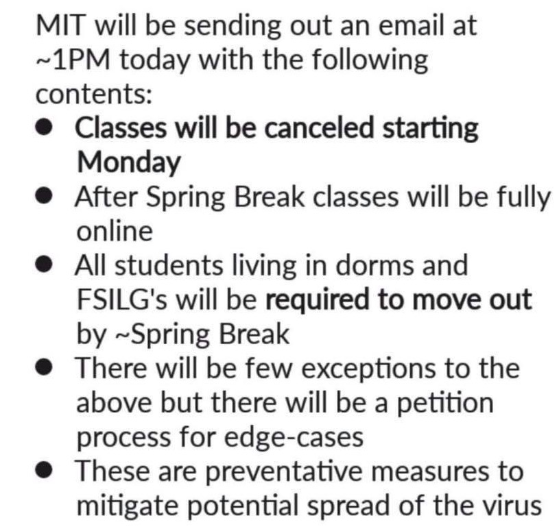 a screenshot of a rumor stating that MIT classes would be cancelled and students would be sent home