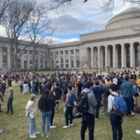 students gather on Killian Court at MIT