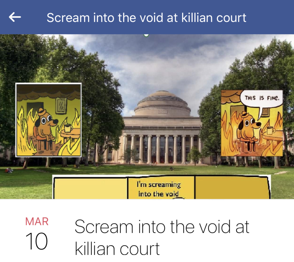 """a facebook invite for an event called """"Scream into the void at killian court"""""""