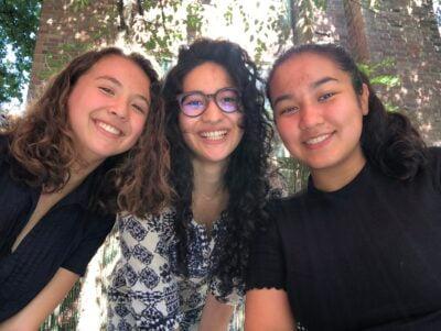 three girls outside