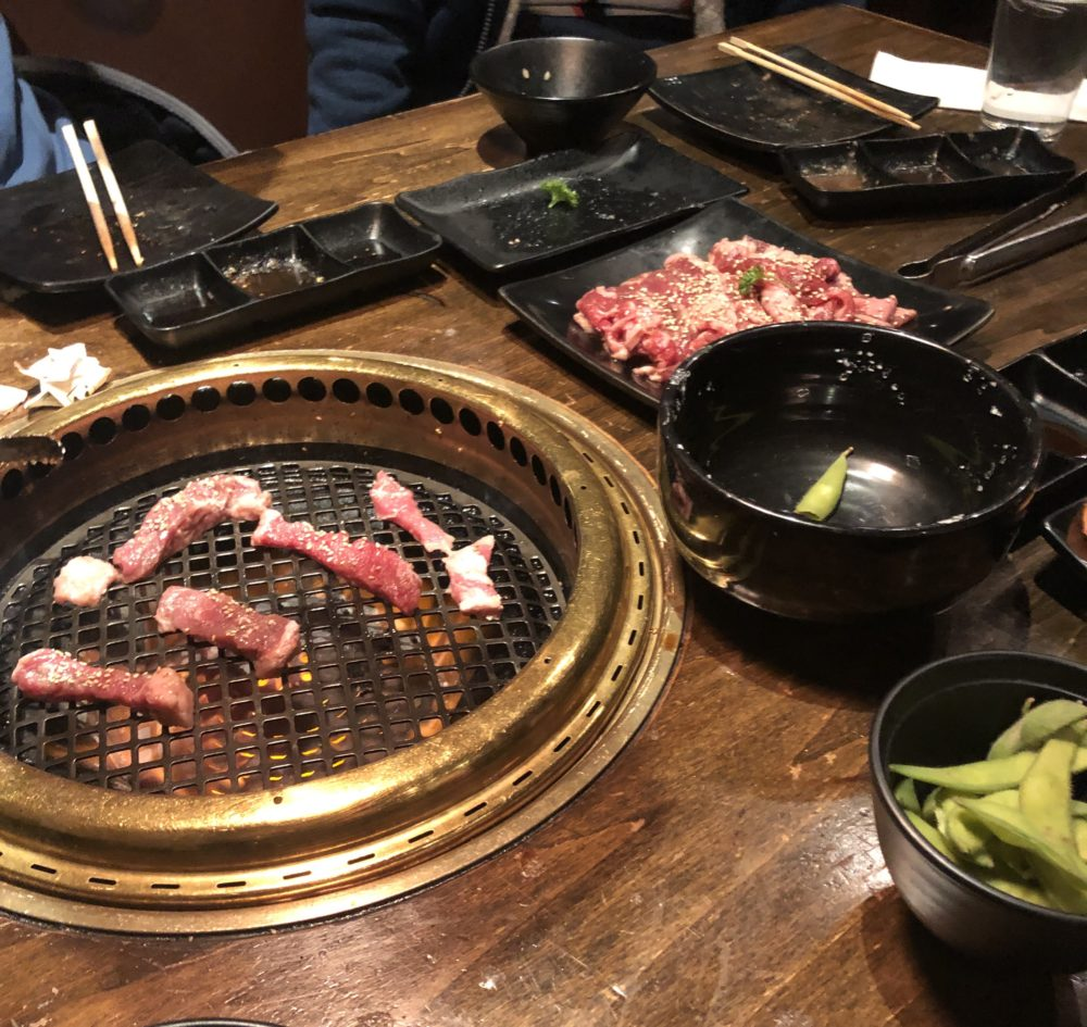 raw meat on a japanese grill