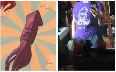 purple squid mural and shirt