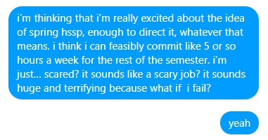 "a facebook message. ""i'm thinking that i'm really excited about the idea of spring hssp, enough to direct it, whatever that means. i think i can feasibly commit like 5 or so hours a week for the rest of the semester. i'm just… scared? it sounds like a scary job? it sounds huge and terrifying because what if i fail? yeah"""