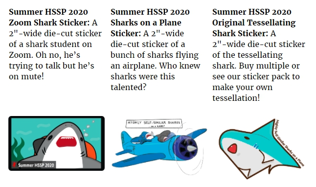 three shark-themed stickers and their descriptions. one is of a shark on a zoom call, another are sharks on a literal airplane, and another is a sticker of a tessellating shark