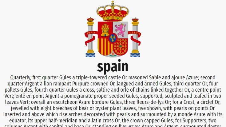 a slide with the coat of arms of spain, and a description below. the description is very long and extends below the slide.