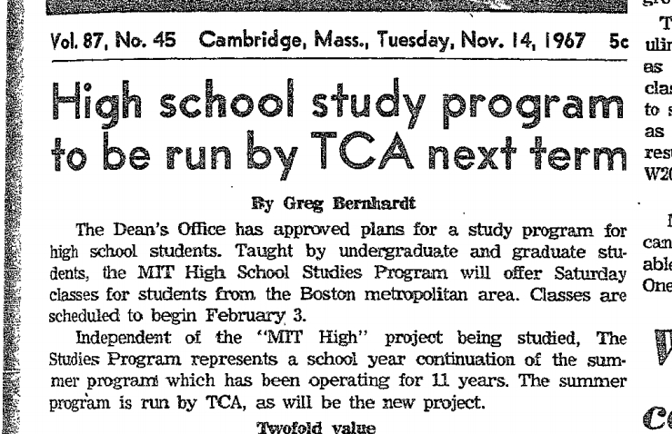 "newspaper clipping, date from nov. 14, 1967. headline: ""High school study program to be run by TCA next term""."