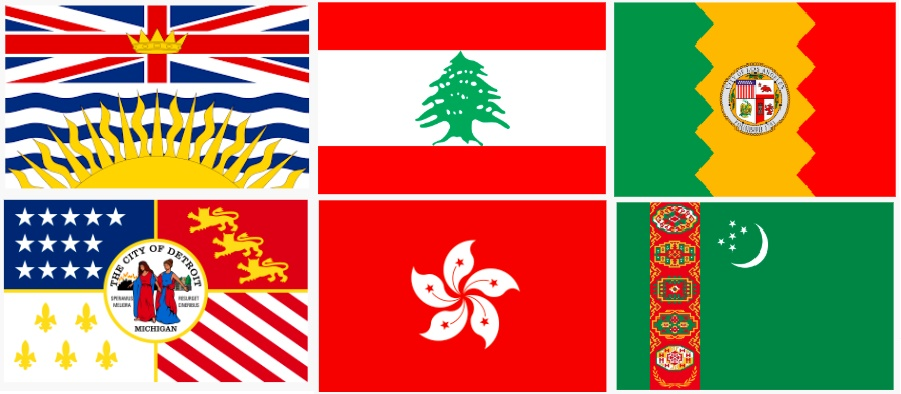 six flags. from right to left, top to bottom: british columbia, lebanon, los angeles, detroit, hong kong, turkmenistan.