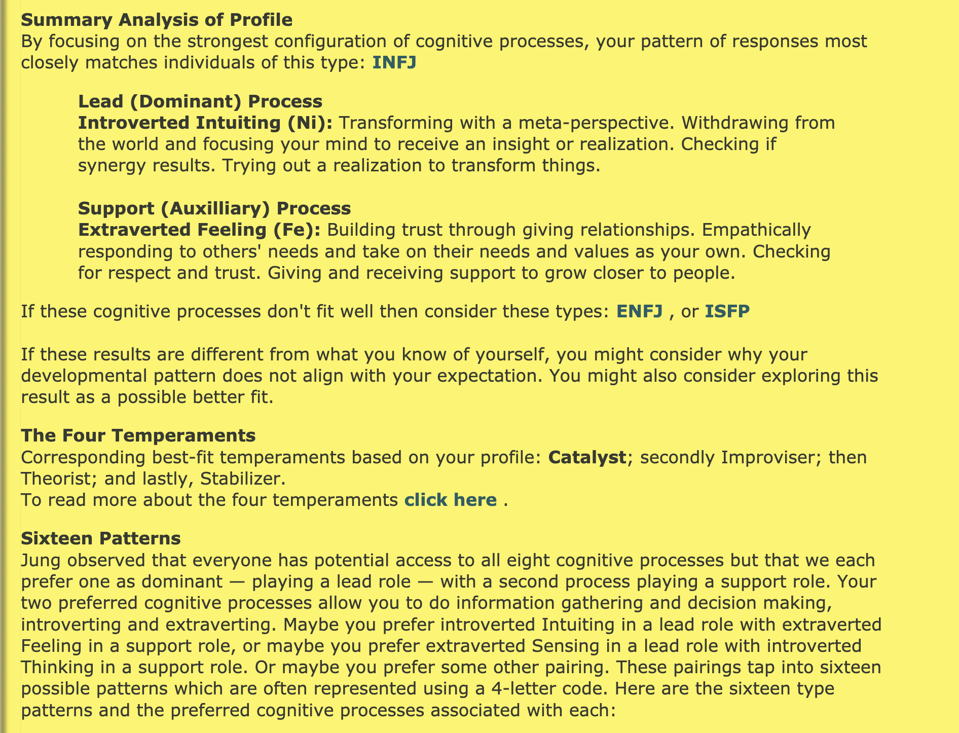 analysis of my profile saying im an infj