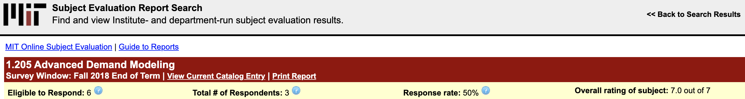 screenshot of course evaluation website