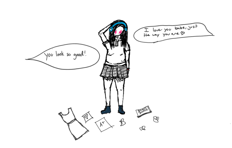 the drawing of me, but surrounded by a journal and good grades and love notes and people saying encouraging things