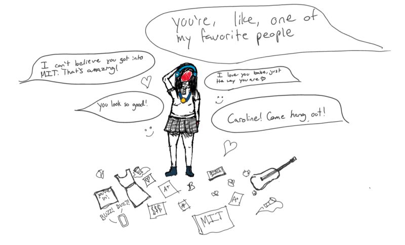 the same drawing as before, but with even more things added: a guitar, an acceptance letter from MIT, people asking me to hang out, crushed red solo cups, more nice comments