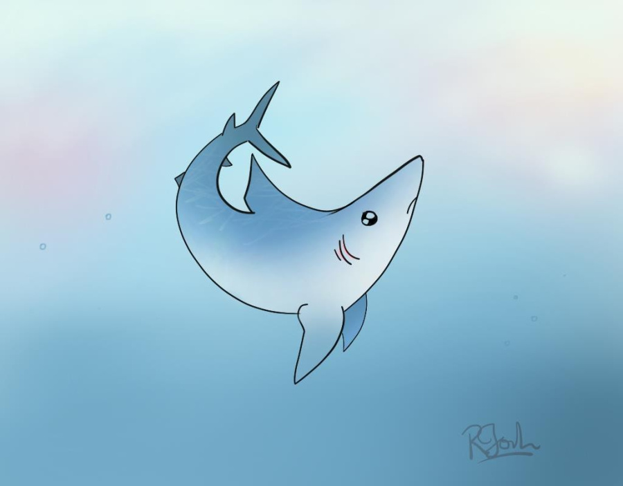 a cute drawing of a shark