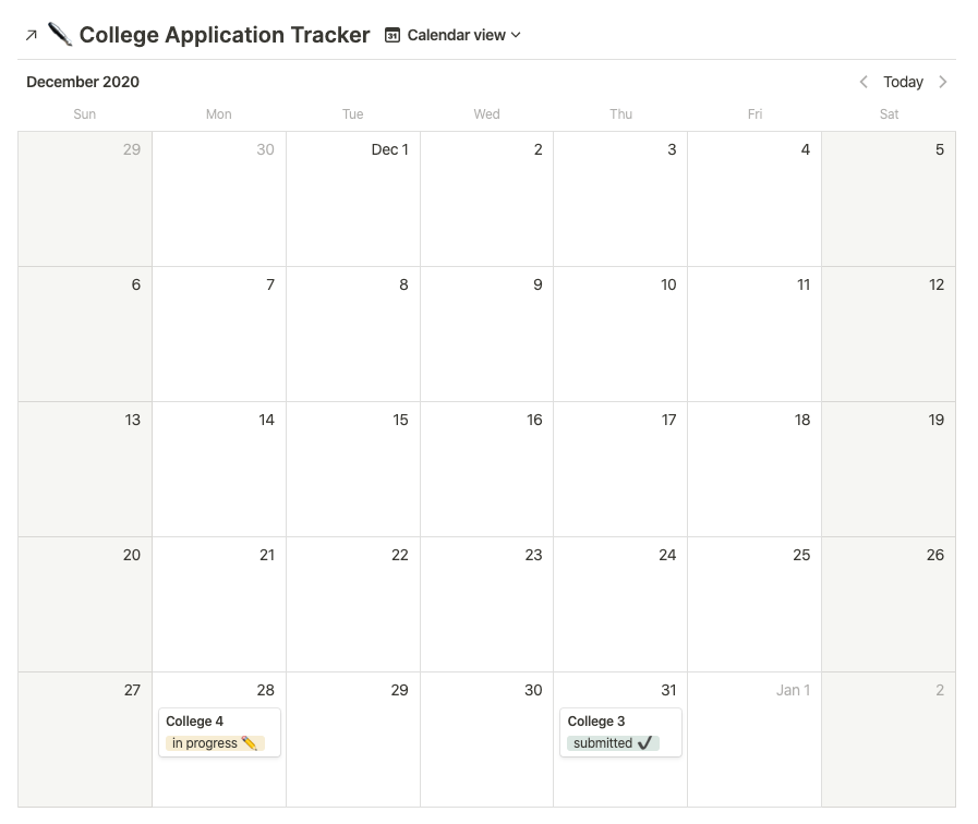 calendar with college applications on it