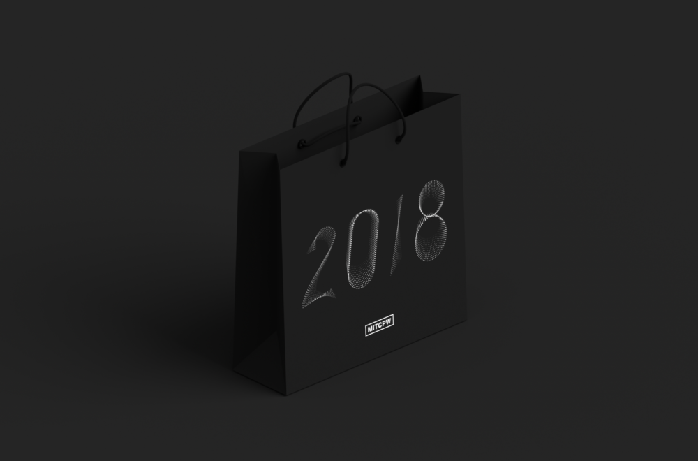 Mockup of a black bag designed for Campus Preview Weekend