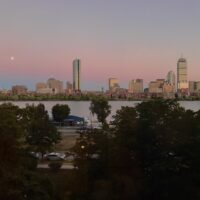 the charles & boston skyline at sunset from my apartment