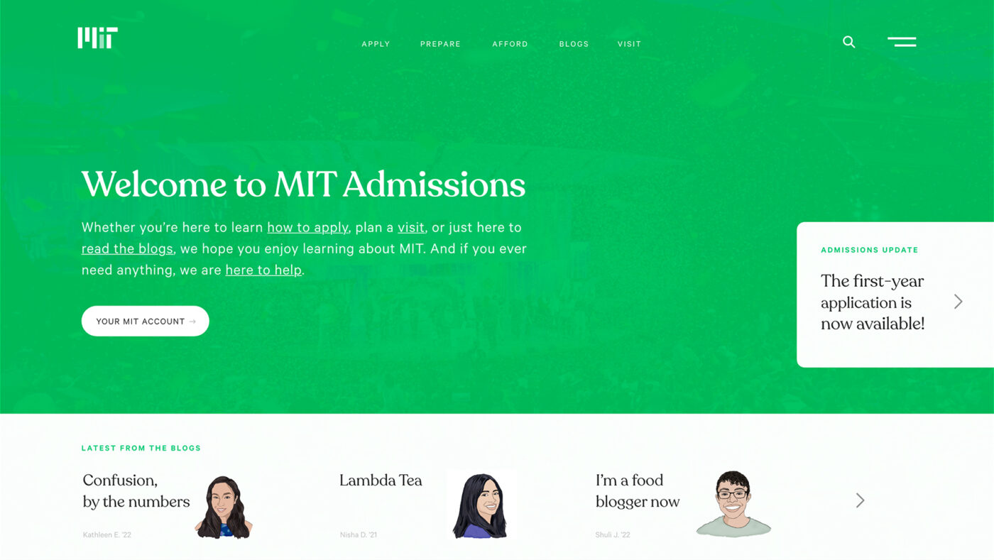 Mockup of the MIT Admissions homepage