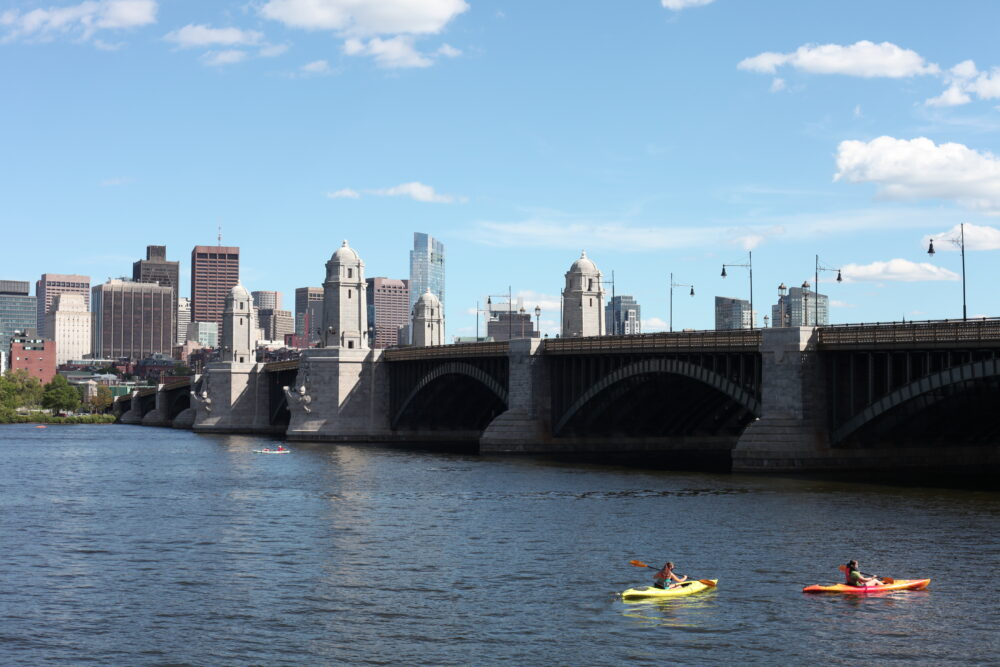 a photo of the Longfellow Bridge, from afar