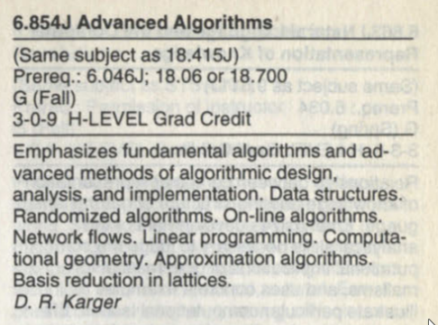 the entry for 6.854 Advanced Algorithms in the 2000–2001 catalog, with Karger listed as professor