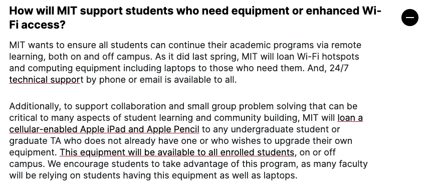 screenshot saying MIT will ship hotspots to students who need them, and will also allow people to borrow ipads