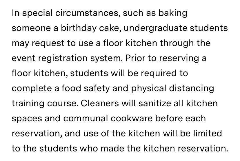 screenshot of text explaining that students can reserve a kitchen to bake a birthday cake given safety trainings, etc