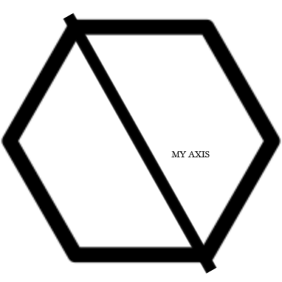 a drawing of a hexagon with an axis through it