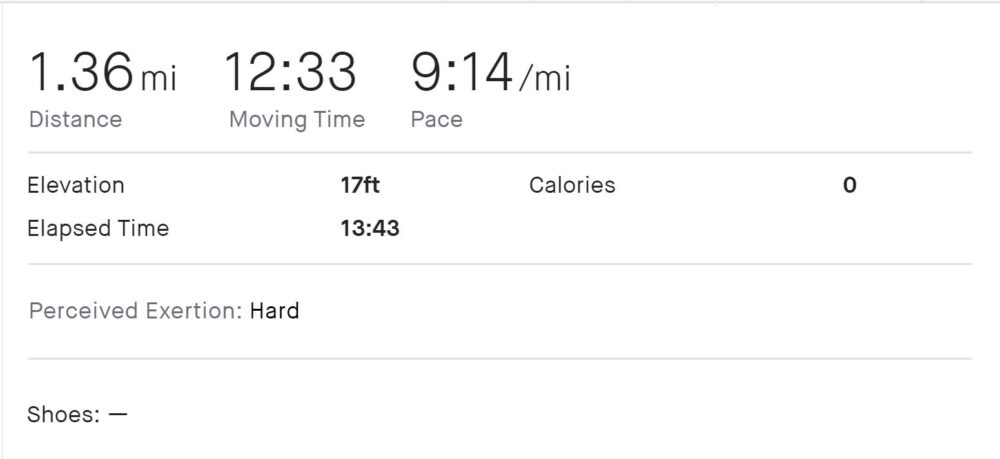 1.36 miles at 9:14 pace