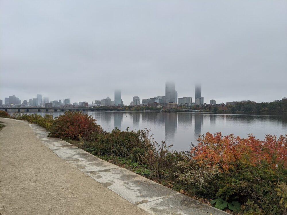 boston skyline in the fog