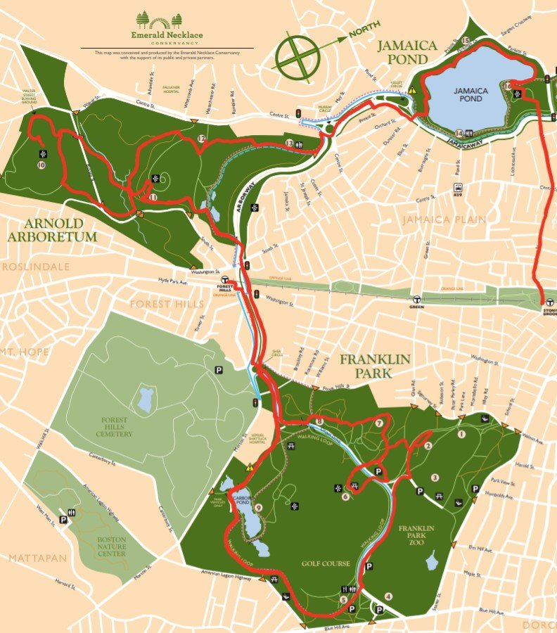 route from forest hills station to stony brook station via Franklin Park, the Arboretum, and Jamaica Pond