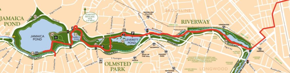route from the Boston University bridge to Jamaica Pond via Riverway and Olmsted Park