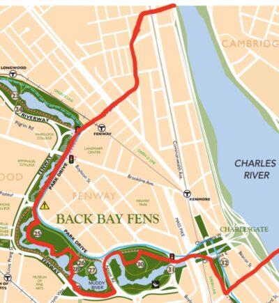 route from boston university bridge to the harvard bridge via the back bay fens