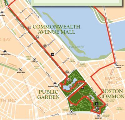 route from harvard bridge to longfellow bridge via the commonwealth avenue mall, public garden, and boston common