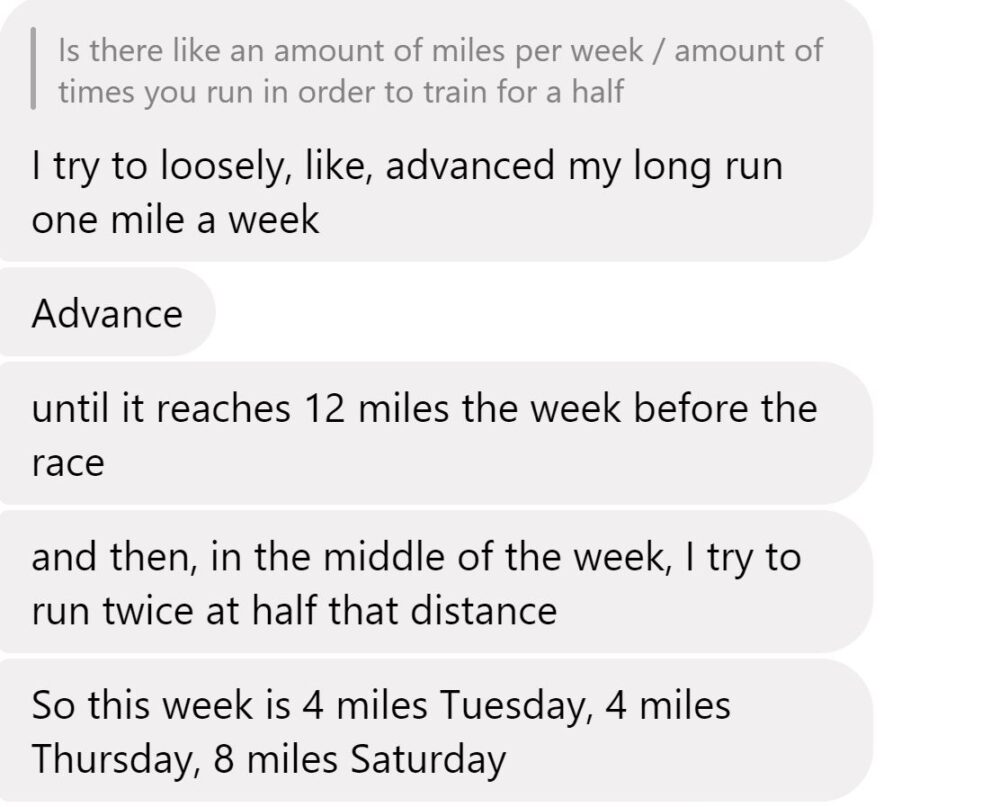 petey's description of his running routine