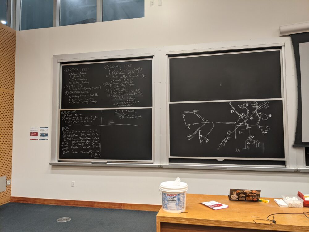 two sets of blackboards in a classroom: the left is filled with text describing a route, the right has a diagram of the MBTA map drawn with arrows and annotations