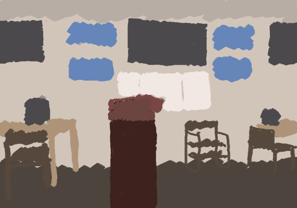 a drawing of a room. there's an empty podium, a whiteboard, a television, some posters, three chairs, two tables. it looks like the front of a classroom.